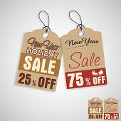 Sale and discount tag for Merry Christmas and other occasion celebrations on beige background.