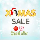 Merry Christmas sale poster, banner or flyer with colorful text and cute penguin in Santa cap on snowflakes decorated shiny blue background.