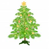 Christmas Decoration Tree With Baubles Vector