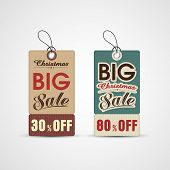 Sale tag or label for Merry Christmas and other occasion celebration.