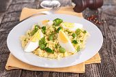 rice,pea and eggs