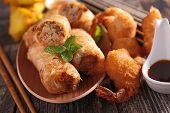 spring roll and fried shrimp