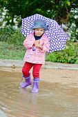 Toddler Girl At Rainy Day I