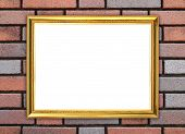 Golden Frame On Brick Stone Wall Background