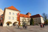 Royal Wawel Castle area in Krakow on november 02 2014