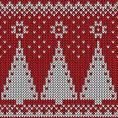 Seamless winter holiday pattern on the wool knitted texture
