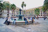People In Placa Reial Off La Rambla (the Boulevard), Barcelona