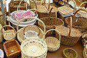 Group wicker baskets at a local flea market, Biescas, Pyrenees, Huesca, Spain.