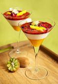 Panna Cotta With Kiwi, Mango And Forrest Fruit