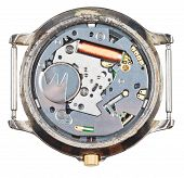 Quartz Wristwatch Movement In Old Clock Isolated