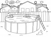 Outline Swimming Pool Scene