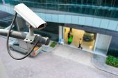 picture of cctv  - CCTV or surveillance operating on building entrance - JPG