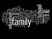 Concept or conceptual education abstract word cloud on black background