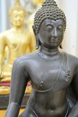 Closeup Of An Original Black Statue Of Buddha