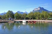 picture of annecy  - sailing boats on Lake Annecy in the French Alps - JPG