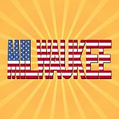 Milwaukee flag text with sunburst illustration