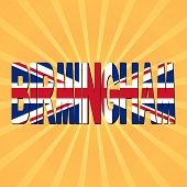Birmingham flag text with sunburst illustration