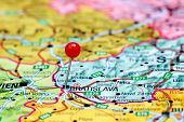 Bratislava pinned on a map of europe