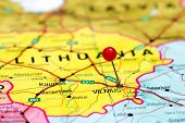 Vilnius pinned on a map of europe