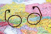 Glasses on a map of europe - Austria