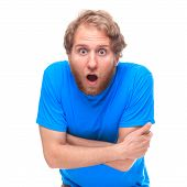 stock photo of shock awe  - Portrait of shocked man with opened mouth  - JPG