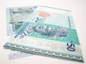stock photo of ringgit  - Front and back picture of the latest fifty malaysian ringgit - JPG