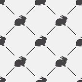 Animal background. Retro rabbit seamless pattern - vector illustration.