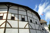 image of william shakespeare  - William Shakespeare Globe Theatre which is situated beside the River Thames on the South Bank opposite St Paul - JPG