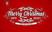 Red Knitted Background with Christmas Label. Holiday Design