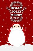 Santa Claus with Merry Christmas Label for Holiday Invitations and Greeting Cards. Xmas Poster, Banner, Placard or Card Template. Winter Illustration with Snowflakes