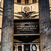 Rome, Italy - November 17, 2014: Interior Panthenon is roman temple commissioned by Marcus Agrippa during reign of Augustus and rebuilt by emperor Hadrian about 126 AD.