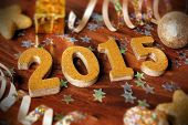 New Years Eve 2015 decor on wood