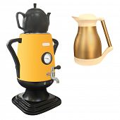 The image of electric kettle under the white background