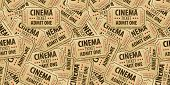 Seamless pattern background of cinema tickets. Eps10 vector illustration