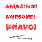 Grunge Rubber Stamp With Text Amazing Awesome Bravo ,vector Illustration