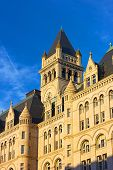 image of old post office  - Clock Tower of Old Post Office building in Washington DC - JPG