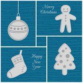 Christmas mini cards, blue