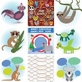 Set Of Funny Animals. Greeting Cards Happy Birthday And New Year. Seamless Background Snake. Vector