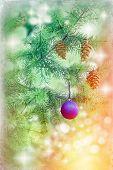 Blue bauble-ball on Christmas tree
