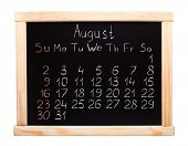 stock photo of august calendar  - 2015 year calendar made on blackboard - JPG