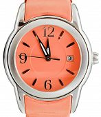 Five To Twelve O'clock On Dial Orange Wristwatch
