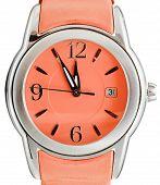 Five To Twelve O'clock On Dial Orange Wristwatch