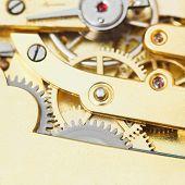 Gears Of Brass Mechanical Movement Of Retro Watch