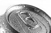 Detail of soda can with water drops for freshness and refreshment