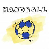Doodle handball on watercolor background