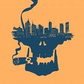 Symbol Skull and city
