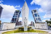 MADRID, SPAIN - OCTOBER 16, 2014: Puerta De Europa towers as viewed from Plaza de Castilla.