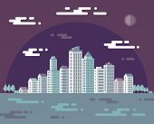 Night cityscape - vector concept illustration in flat design style for presentation, booklet, websit