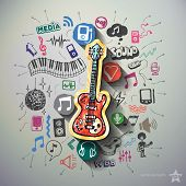 Music collage with icons background