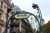 picture of art nouveau  - Metro Subway entrance at saint michel stop - JPG